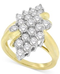 Macy's Diamond Leaf Cluster Ring 2 Ct. T.W. In 14K Gold Yellow Gold