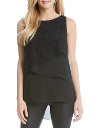 Karen Kane Asymmetrical Lace Overlay Tank Top Black