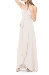 Ceremony By Joanna August 'Parker' Twist Strap Chiffon Wrap Gown All Tomorrows Parties