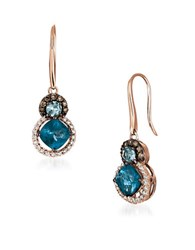 Levian Diamonds Topaz Aquamarine And 14K Rose Gold Drop Earrings White Gold