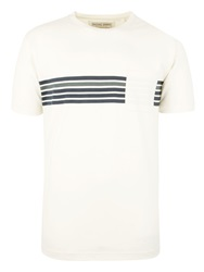 Racing Green Russell Stripe T Shirt Ecru