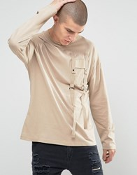 Asos Long Sleeve T Shirt With Military Pocket And Strap Detail Beige