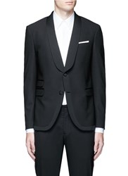 Neil Barrett Satin Shawl Lapel Tuxedo Blazer Black