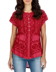 Lucky Brand Embroidered Short Sleeve Top Tibetan Red