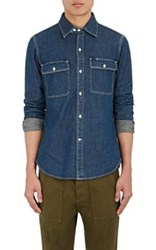 Earnest Sewn Men's Denim Button Front Shirt Blue