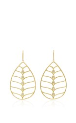 Jamie Wolf Pear Shape Earrings With Scallop Wire And White Diamonds Gold