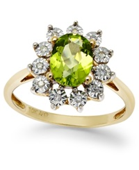Macy's Peridot 1 3 8 Ct. T.W. And Diamond Accent Ring In 14K Gold
