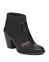 Jessica Simpson Yeni Leather And Woven Elastic Ankle Boots Black