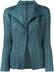 Issey Miyake Pleats Please By Ribbed Fitted Jacket Blue