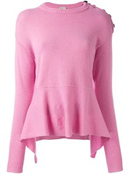 Nude Peplum Knit Blouse Pink And Purple