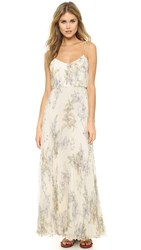 Jill Stuart Pleated Silk Chiffon Gown Maiden Floral