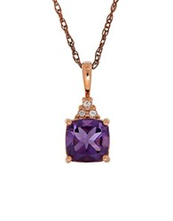 Lord And Taylor Amethyst 14K Rose Gold Pendant Chain
