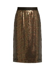 Tibi Sequin Embellished Skirt Khaki