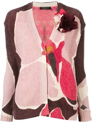 Twin Set Patterned Floral Embellished Cardigan Pink Purple
