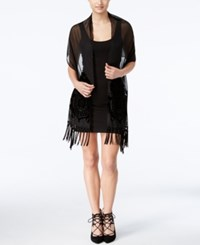 Betsey Johnson Blue Label Burnout Hem Fringe Evening Wrap Black