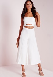 Missguided Crepe Wide Leg Culottes White White