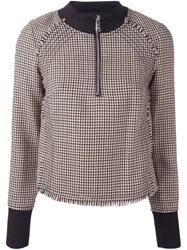 3.1 Phillip Lim High Collar Houndstooth Top Nude And Neutrals