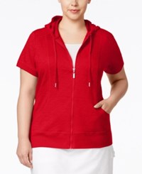 Styleandco. Style And Co. Plus Size Short Sleeve Hoodie Only At Macy's New Red Amore