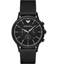 Emporio Armani Ar2498 Renato Stainless Steel And Leather Watch Black