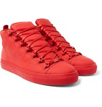 Balenciaga Suede And Leather High Top Sneakers Red