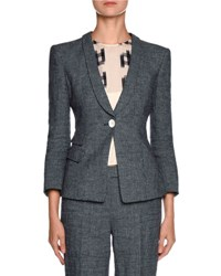 Giorgio Armani Virgin Wool One Button Blazer Denim