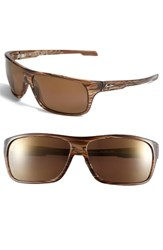 Men's Maui Jim 'Island Time Polarizedplus' Rectangle Wrap 64Mm Sunglasses Striped Rootbeer