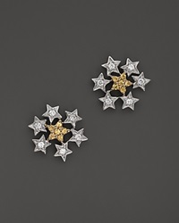 Bloomingdale's Yellow Sapphire And Diamond Star Cluster Stud Earrings In 14K Yellow And White Gold Multi