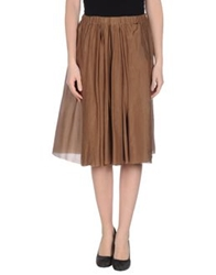 Alysi Knee Length Skirts Khaki