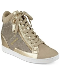 G By Guess Damsel High Top Wedge Sneakers Women's Shoes Gold Glitter