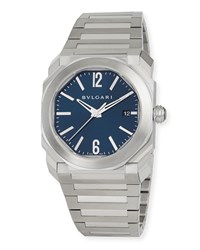Bulgari 41Mm Stainless Steel Octo Solotempo Watch W Blue Dial Bvlgari