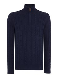 Howick Sanford Cotton Cable Funnel Neck Jumper Navy
