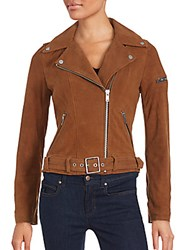 7 For All Mankind Zip Front Leather Jacket Cognac