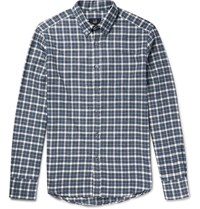 Dunhill Dunhi Button Down Coar Checked Brushed Cotton Fanne Shirt Bue Blue