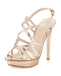 Pelle Moda Flirty Strappy Leather Sandal Platinum Gold