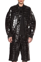 Ktz Faux Crocodile Nylon Jacket In Black Animal Print
