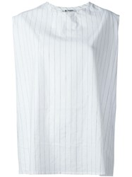 Barena Striped Cut Off Sleeve Top White