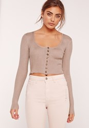 Missguided Button Down Crop Jumper Lilac Mauve