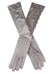 Dents Satin Evening Glove With 5 Buttons Pewter