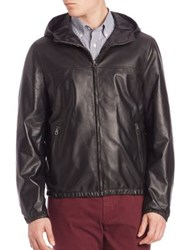 Salvatore Ferragamo Nappa Leather Hooded Jacket Nero