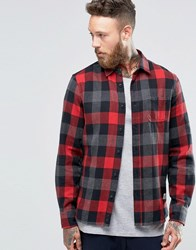 Penfield Valetview Buffalo Check Shirt Button Brushed Cotton Red