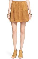 Women's Free People 'Piece Out' Suede Miniskirt Mustard