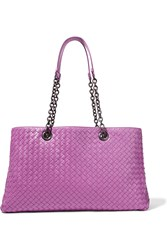 Bottega Veneta Shopper Large Intrecciato Leather Tote Fuchsia