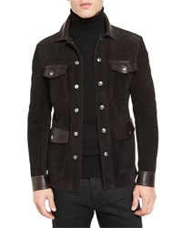 Tom Ford Suede And Leather 4 Pocket Shirt Jacket Brown