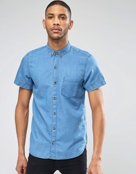 Pull And Bear Pullandbear Denim Shirt In Mid Wash Blue In Regular Fit Blue