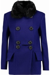Vivienne Westwood Anglomania Marshall Faux Fur Trimmed Wool Blend Coat Royal Blue