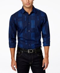 Alfani Big And Tall Men's Block Striped Long Sleeve Shirt Only At Macy's Crisp Navy