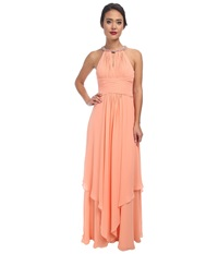 Donna Morgan Siena Beaded Halter Long Gown Peach Fuzz Women's Dress Yellow