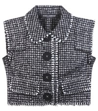 Dolce And Gabbana Cropped Sleeveless Tweed Jacket Grey