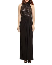 Ralph Lauren Sequin Bodice Gown Black