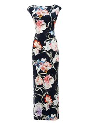 Wallis Floral Stretch Jersey Maxi Navy